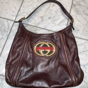 VINTAGE GUCCI HANDBAG (brown leather)